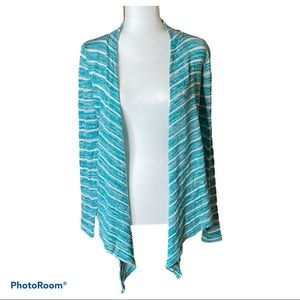 Women's Bluenotes striped open front cardigan